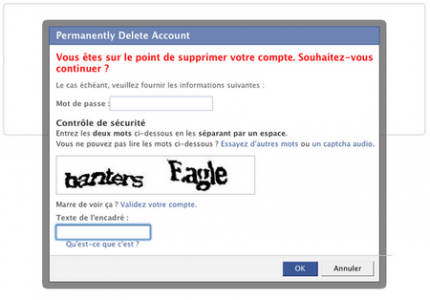 Suppression de la page Facebook