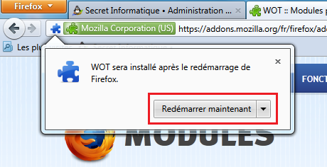 Redémarrer maintenant Firefox